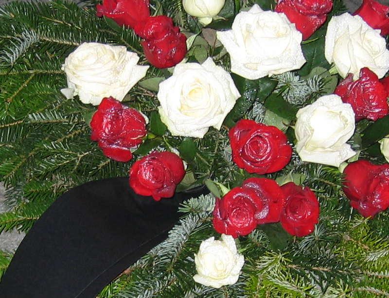 1 Bukett mit weißen und roten Rosen