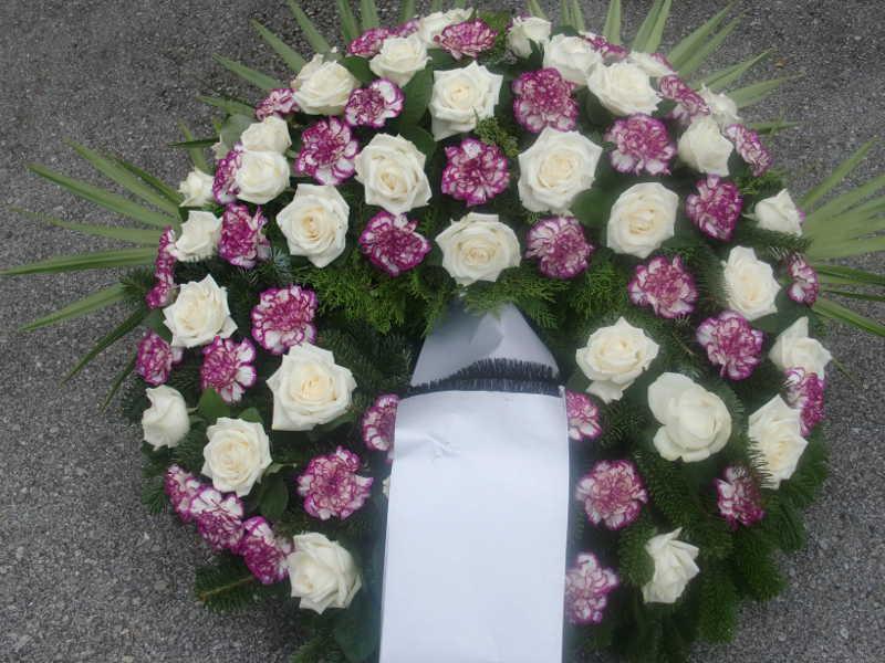 10 Trauerkranz weiße Rosen rosa Nelken