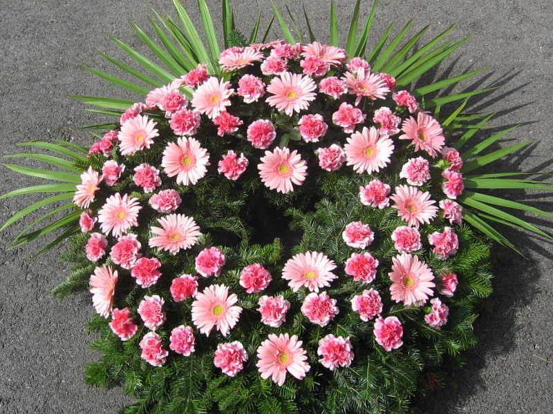 16 Trauerkranz mit Gerbera und Nelken rosa