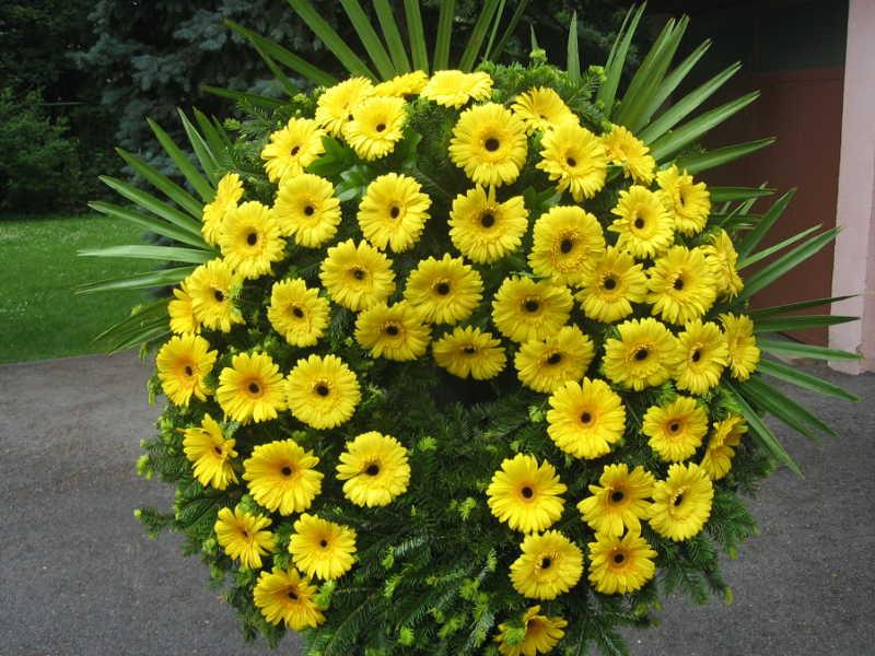 60 Trauerkranz mit gelben Gerbera