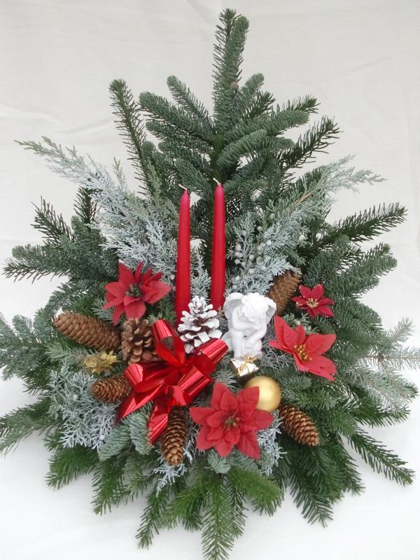 14 Weihnachtsgesteck rot mit kleinem Engel