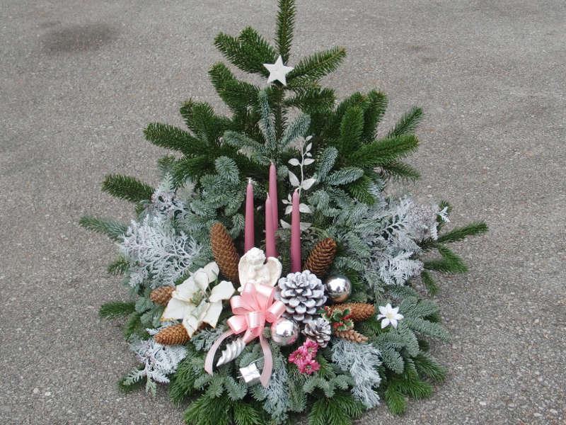 7 Weihnachtsgesteck in rosa